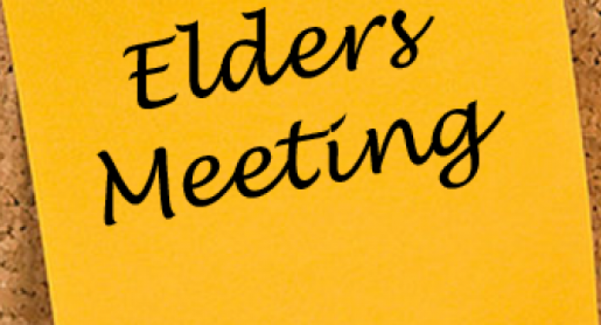 Elder's Corner – Meeting Notes from May 14th, 2018