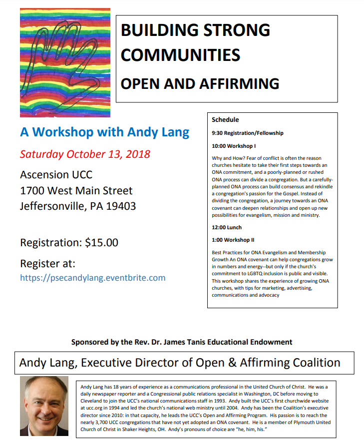 Building Strong Communities – Open & Affirming, Sat Oct 13, 10a-3p