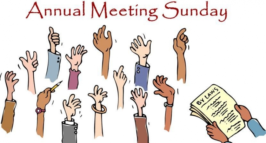 2019 Annual Congregation Meeting, Sun, Jan 27 after Worship