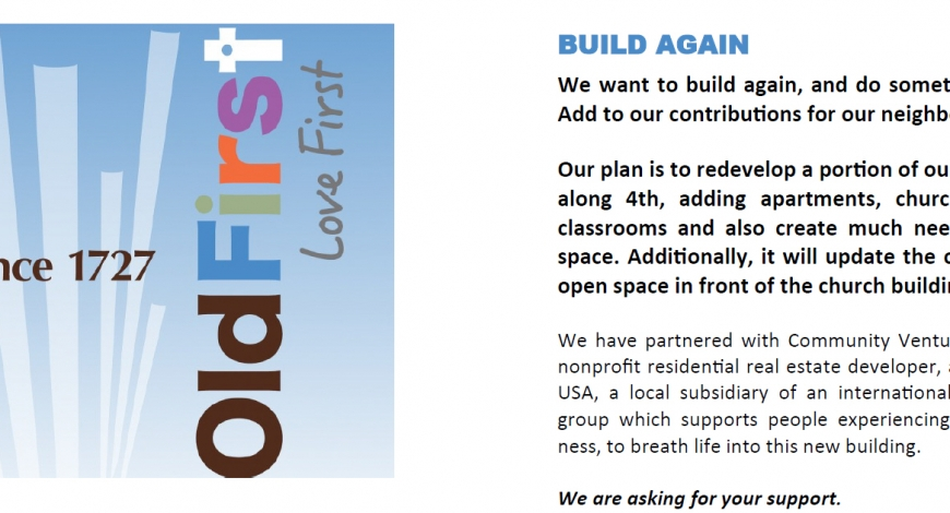 We Start Spreading the News – Old First Wants to Build Again