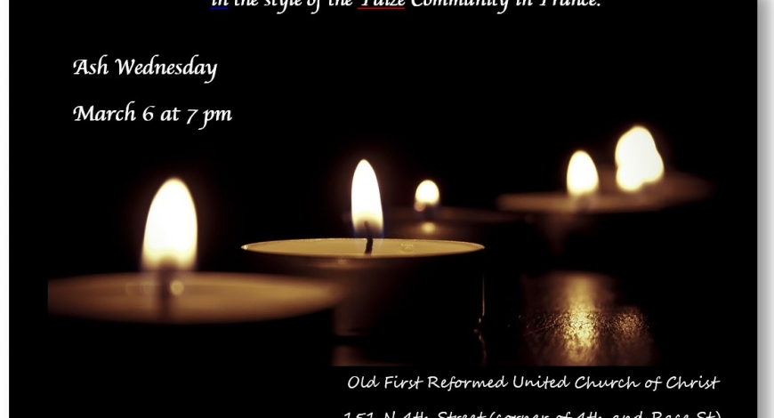 Ash Wednesday Taize Service, March 6 at 7pm