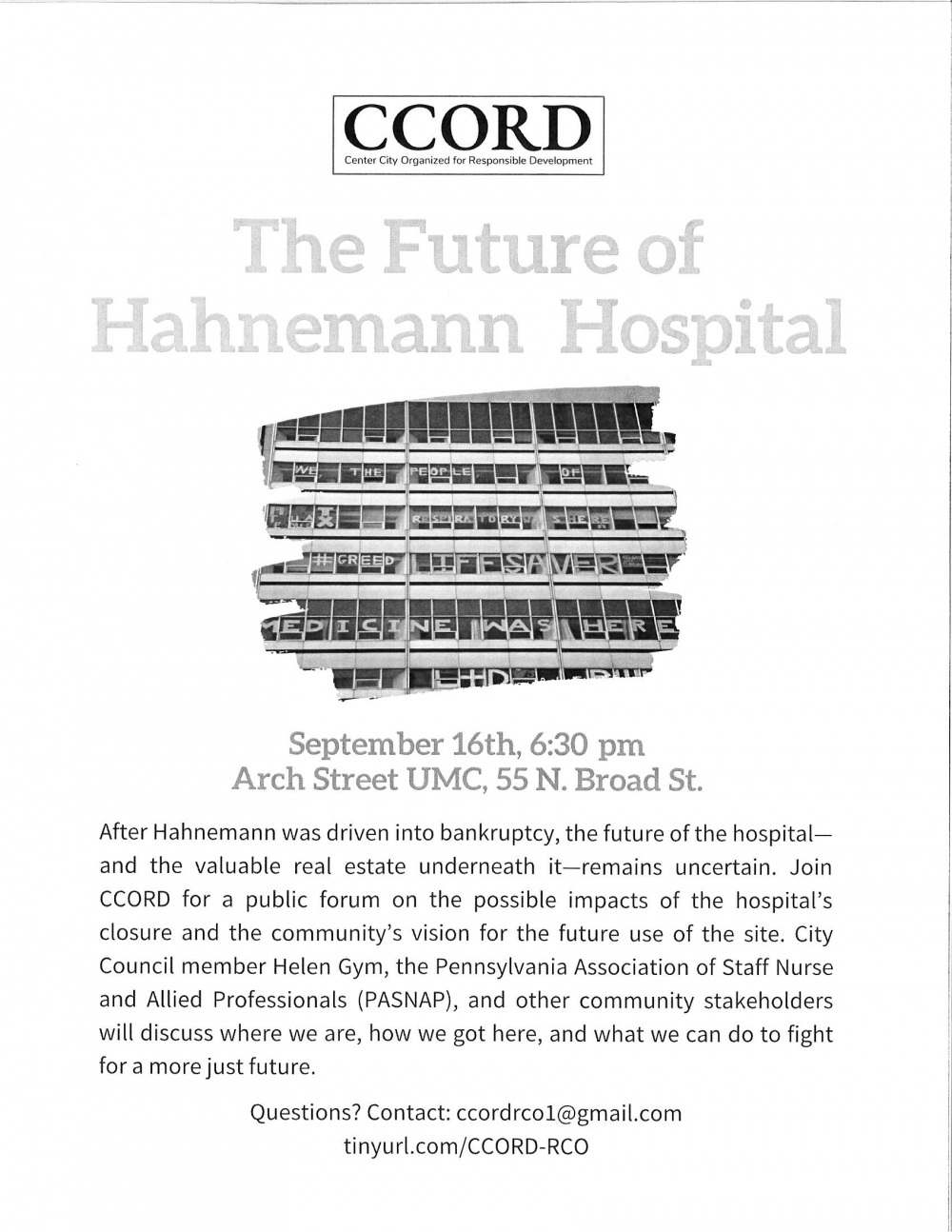 The Future of Hahnemann Hospital, Sept 16, 6:30pm