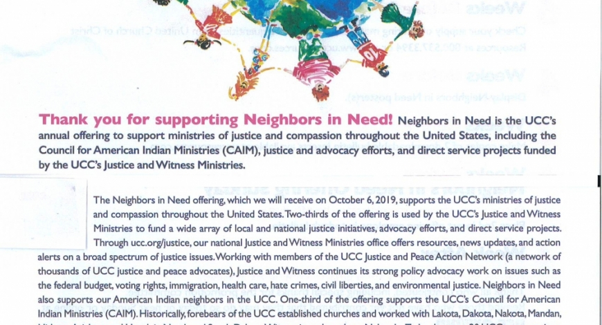 Neighbors in Need Offering – World Communion Sunday, Oct. 6