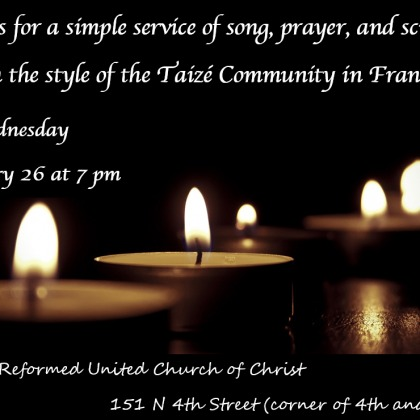 Ash Wednesday Taize Service, Feb. 26, 7pm